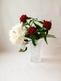 Pioen en anjerbloemen in een glasvaas Royalty-vrije Stock Afbeeldingen