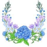 Pioen en de lentebloemensamenstelling stock afbeelding