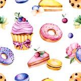 Pioenbloem, bladeren, succulente installatie, smakelijke cupcake, viooltjebloem, makarons, donuts, koekjes, citroen en kersenkaas Royalty-vrije Stock Afbeeldingen