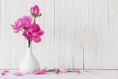 Pioenbloemen in vaas stock foto