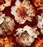 Pioenpatroon op de textuur Stock Afbeeldingen