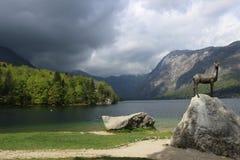 Pioggia aspettante nuvolosa di Bohinj Immagini Stock