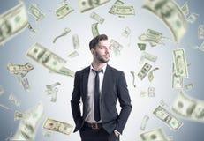 Pioggia barbuta del dollaro e dell'uomo d'affari Immagine Stock Libera da Diritti