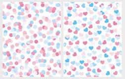 Pioggia blu e rosa dei coriandoli di forma del cuore e del punto illustrazione vettoriale