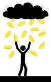 Pioggia con le monete di oro Fotografia Stock