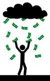 Pioggia con soldi Fotografie Stock Libere da Diritti