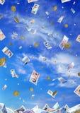Pioggia dei soldi Fotografia Stock Libera da Diritti