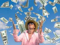 Pioggia dei soldi Fotografie Stock Libere da Diritti