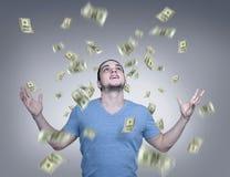 Pioggia dei soldi Immagini Stock Libere da Diritti