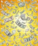 Pioggia dei soldi americani Immagini Stock
