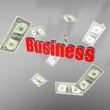 Pioggia dei soldi di affari Immagine Stock
