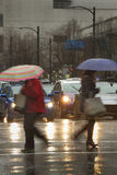 Pioggia del centro pesante Fotografia Stock Libera da Diritti