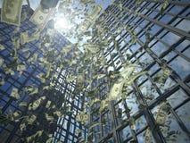 Pioggia del dollaro (distruzione di valore) Fotografia Stock Libera da Diritti