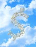 Pioggia del simbolo del dollaro dei soldi Fotografie Stock