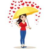 Pioggia dell'ombrello dei cuori illustrazione vettoriale