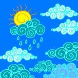 Pioggia della natura di clima del fondo del tempo del cielo di vettore illustrazione vettoriale