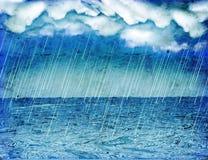 Pioggia della tempesta in mare. Annata Fotografia Stock