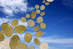 Pioggia delle monete Fotografia Stock Libera da Diritti