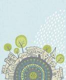 Pioggia di estate che cade sopra una città Fotografia Stock
