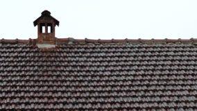 Pioggia di estate che cade sul tetto e sul camino di mattonelle rosse video d archivio