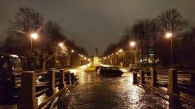 Pioggia di notte del parco giallo-chiaro fotografie stock libere da diritti