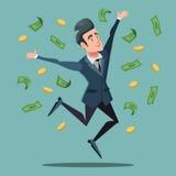 Pioggia felice di Jumping Under Money dell'uomo d'affari Successo di affari Fotografie Stock Libere da Diritti