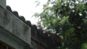 Pioggia persistente che cade sulla parete e sul tetto domestici archivi video