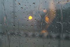 Pioggia su una finestra Immagine Stock