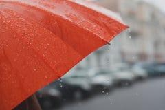 Pioggia sull'ombrello Immagine Stock