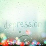 Pioggia sulla finestra La depressione di parola è scritta un dito su w Fotografie Stock Libere da Diritti