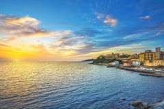 Piombino sunset view from piazza bovio.Tuscany Italy royalty free stock image