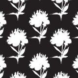 Pionblommor med design för upprepning för svart vit garnering för sidor minsta Blomningmall mot bakgrund field blåa oklarheter fö stock illustrationer