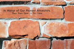 Pioneer ancestors marker. Stock Photos