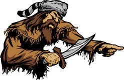 Pioneer with Bowie Knife and Coonskin Hat Mascot Royalty Free Stock Photography