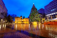 Pioneer Courthouse with christmas tree on a rainy winter night. Which is the oldest federal building in the Pacific Northwest royalty free stock photo