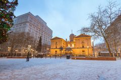 Pioneer Courthouse Square at Christmas night. Pioneer Courthouse in Pioneer Square at Christmas night royalty free stock images