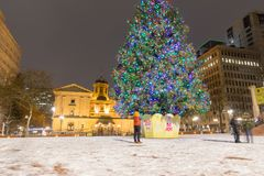 Pioneer Courthouse in Pioneer Square with Christmas tree. At white christmas night royalty free stock images