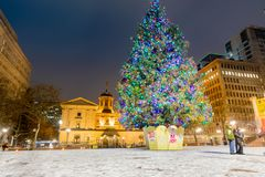 Pioneer Courthouse in Pioneer Square with Christmas tree. At white christmas night stock photos