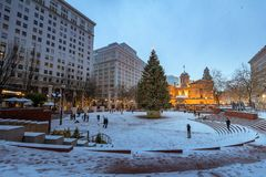 Pioneer Courthouse in Pioneer Square with Christmas tree. At white christmas night stock image