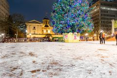 Pioneer Courthouse in Pioneer Square with Christmas tree. At white christmas night royalty free stock photo