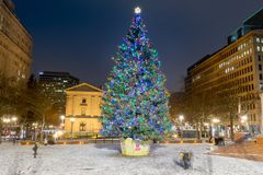 Pioneer Courthouse in Pioneer Square with Christmas tree. At white christmas night royalty free stock photos
