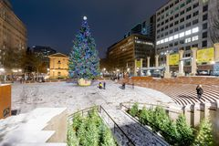 Pioneer Courthouse in Pioneer Square with Christmas tree. At white christmas night royalty free stock photography