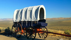 Pioneer Covered Wagon Along The Oregon Trail stock image