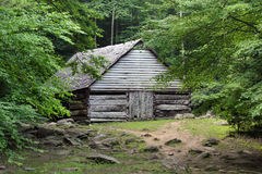 Pioneer farm Building. Early nineteenth century farm building at Smoky Mountain National Park stock photo