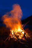 Pioneer fire. Pioneer night bonfire on the beach of the lake Royalty Free Stock Photos