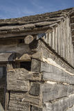 Pioneer log cabin,retro,old,logs,historical,western village. An old historical pioneer log cabin in a restored western village Stock Photo