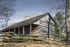 Pioneer log cabin,retro,old,logs,historical,western village. An old historical pioneer log cabin in a restored western village Stock Images