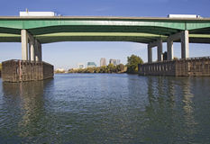 Pioneer Memorial Bridge and downtown Sacramento in far backgroun Royalty Free Stock Image