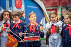 Pioneer. Russia, Moscow - September 11, 2016: Moscow City Day. Moscow residents and guests celebrate the 869 anniversary of the city. Performance on Tverskaya royalty free stock photography