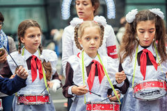Pioneer. Russia, Moscow - September 11, 2016: Moscow City Day. Moscow residents and guests celebrate the 869 anniversary of the city. Performance on Tverskaya royalty free stock images